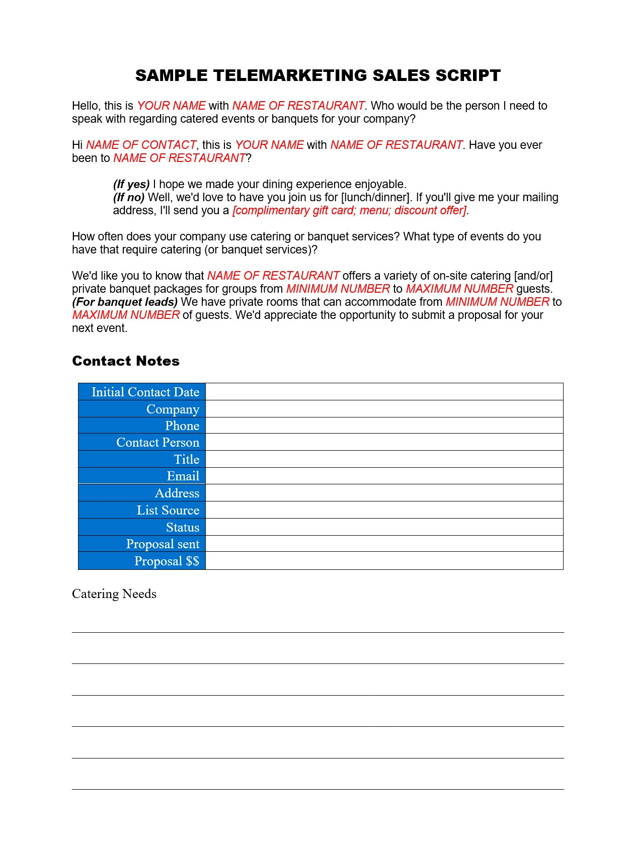 CateringBanquet Telemarketing Script