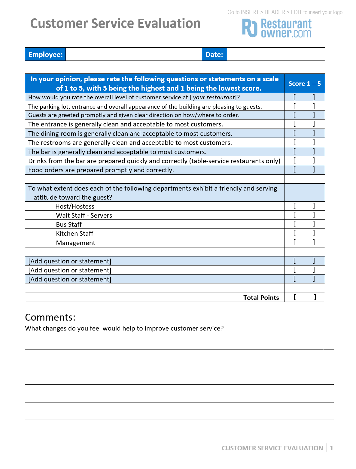 retail employee evaluation forms