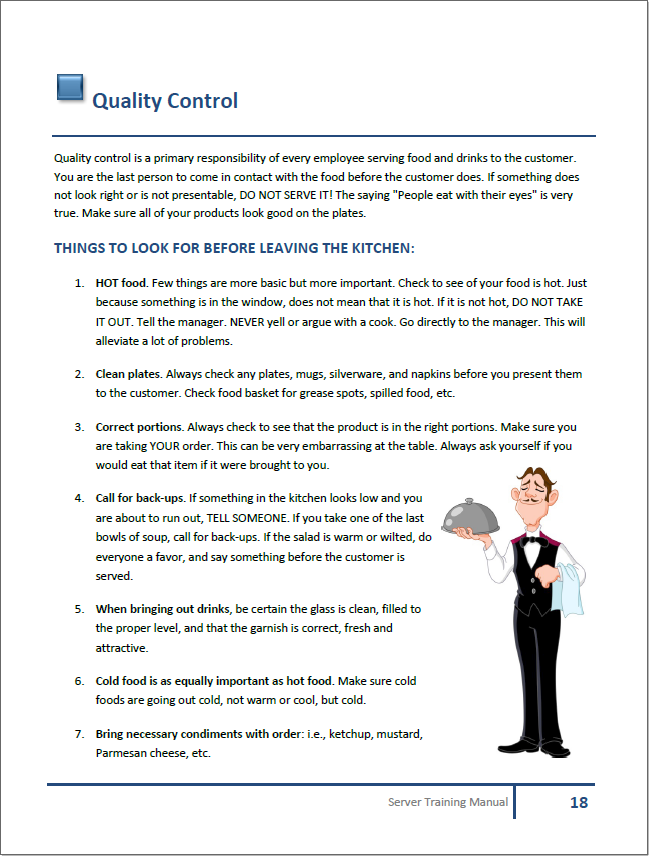 restaurant training manual templates rh restaurantowner com Sample Operations Manual for Retail Sample Operations Manual for Retail