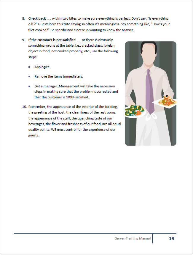 restaurant training manual templates rh restaurantowner com food and beverage service training manual ppt food and beverage training manual free download