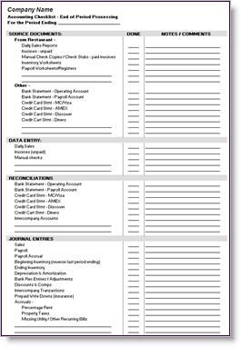 system restaurant accounting checklist