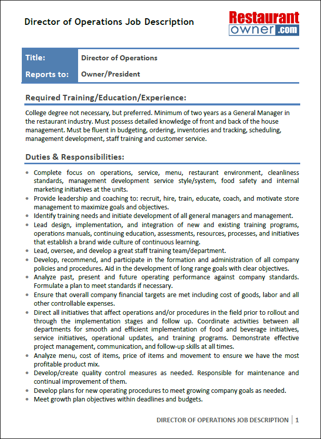 Exceptional Download The Director Of Operations Job Description