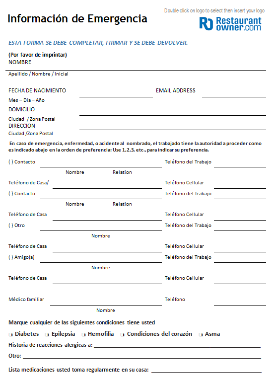 Emergency Contact Form - Spanish