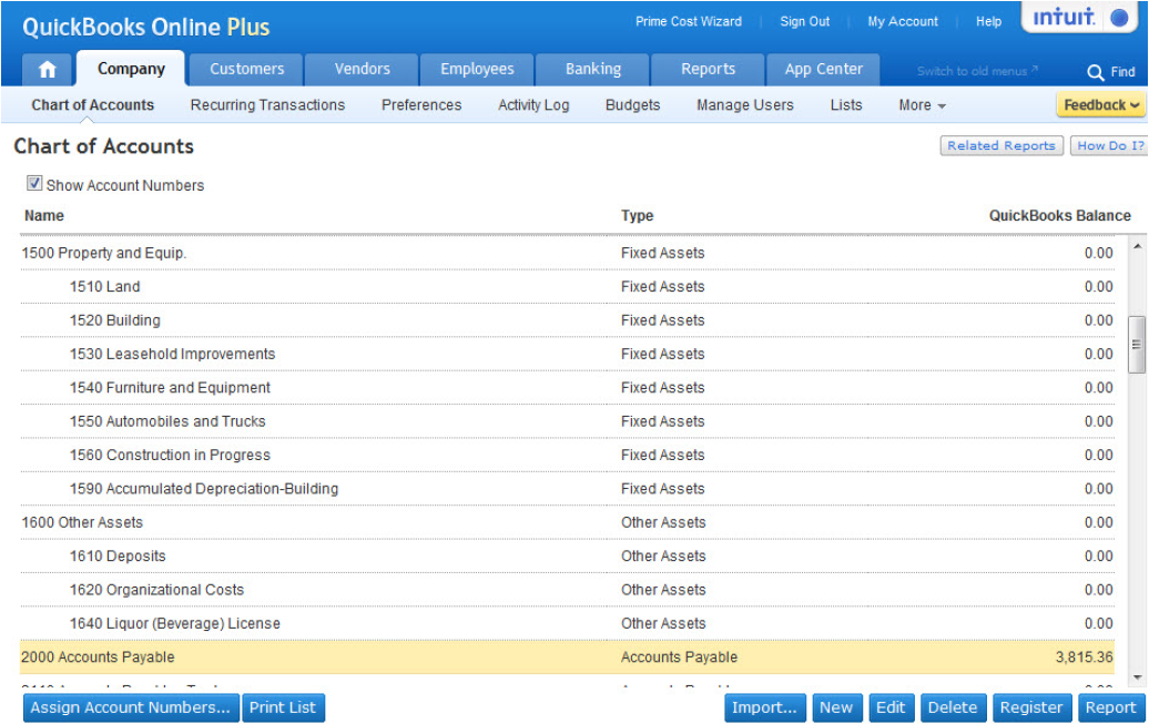 Restaurant-Specific Chart of Accounts for QuickBooks Online