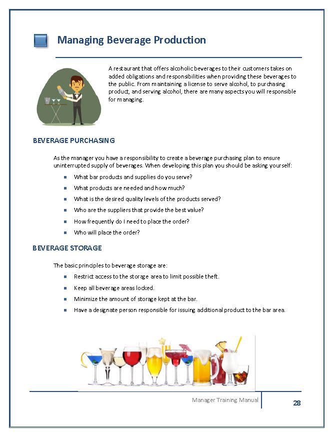 Restaurant manager training manual template.