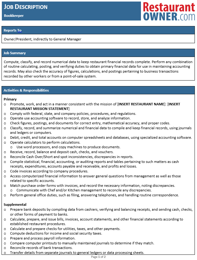bookkeepers job description bookkeeper job description saint