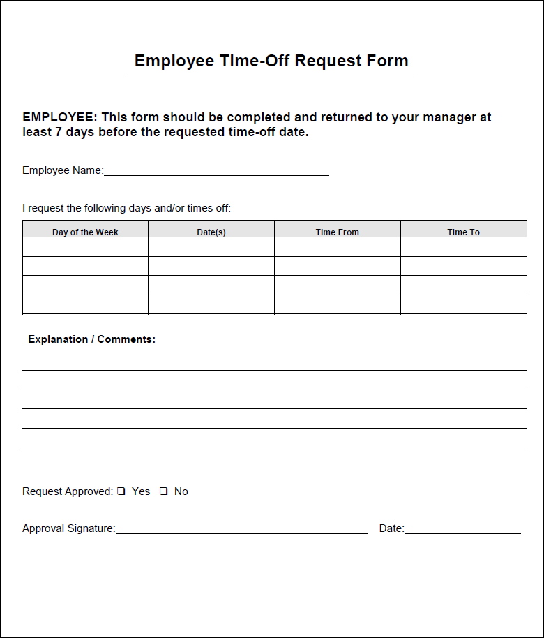 Download The Employee Time Off Request Form