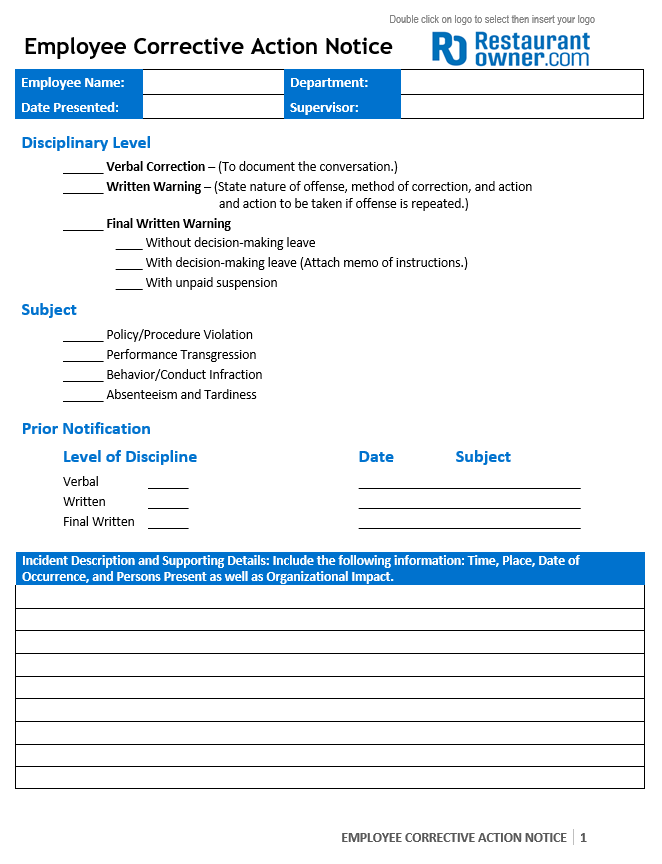 380bpng – Employee Notice Form