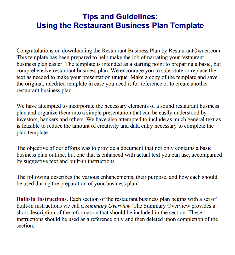 Tips and instructions using the restaurant business plan template download the tips and instructions using the restaurant business plan template accmission Images