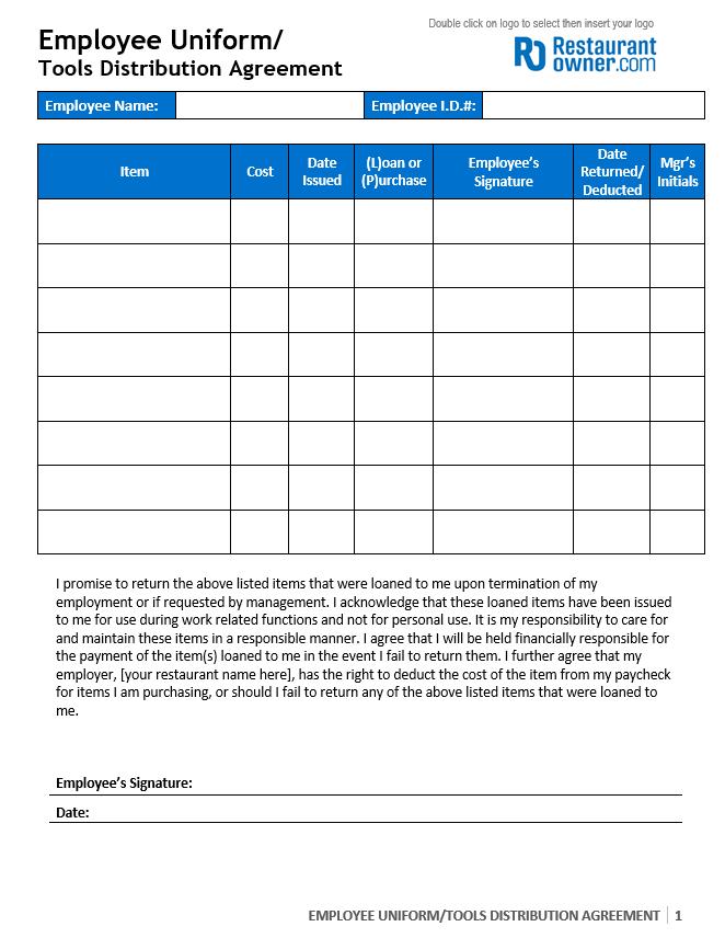 employee uniform agreement form Uniform Agreement