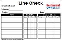 restaurant line check template