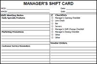 restaurant manager s shift card
