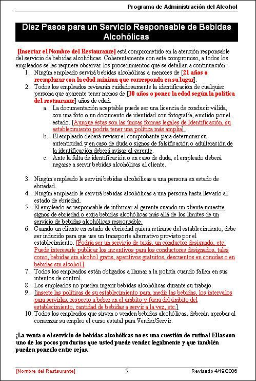 Download alcohol management training spanish version sample page from alcohol management training program pronofoot35fo Gallery