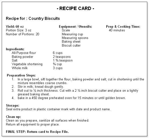 standardized recipe format template