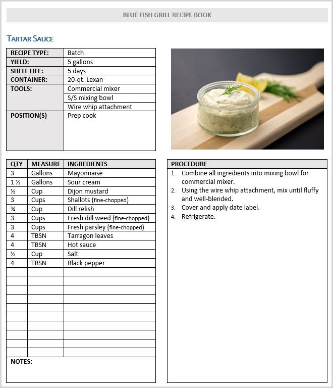 recipe manual template