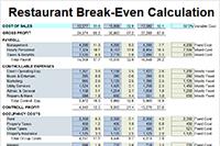 download the restaurant break even calculation worksheet