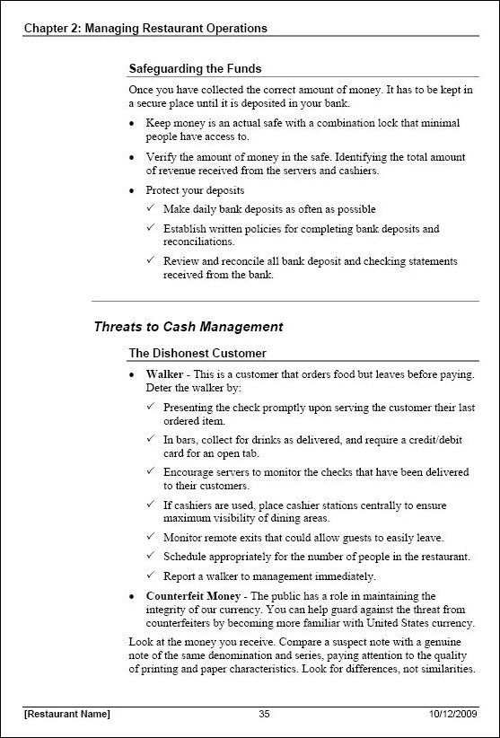 Word Manual Template. View Some Sample Pages - Restaurant Manager