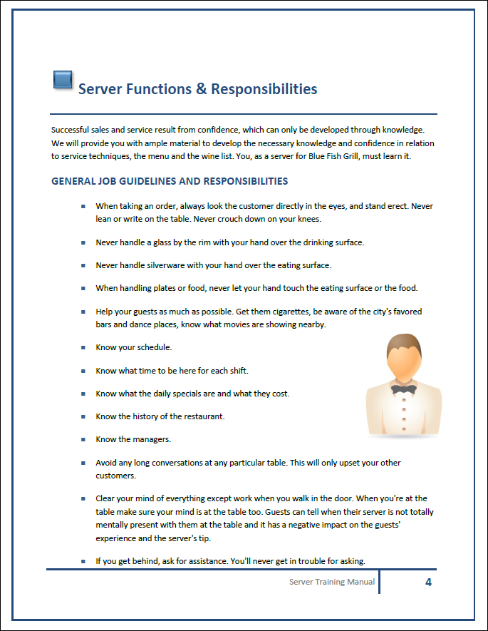 Restaurant Training Manual Templates – Manual Template