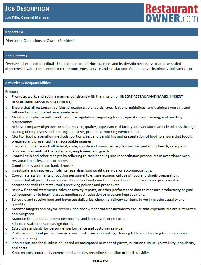 Download The General Manager Job Description