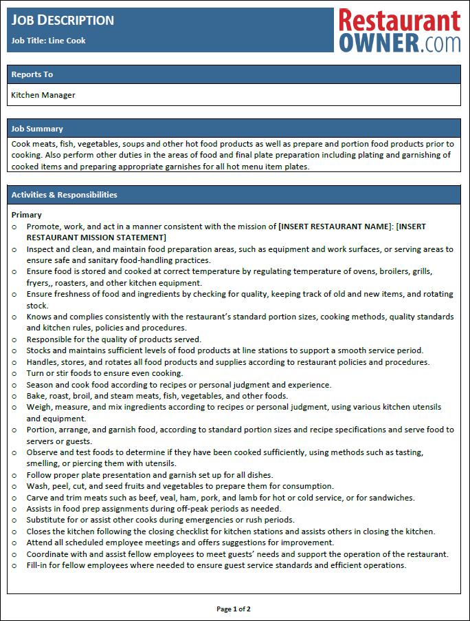 Restaurant Job Descriptions – Line Cook Responsibilities