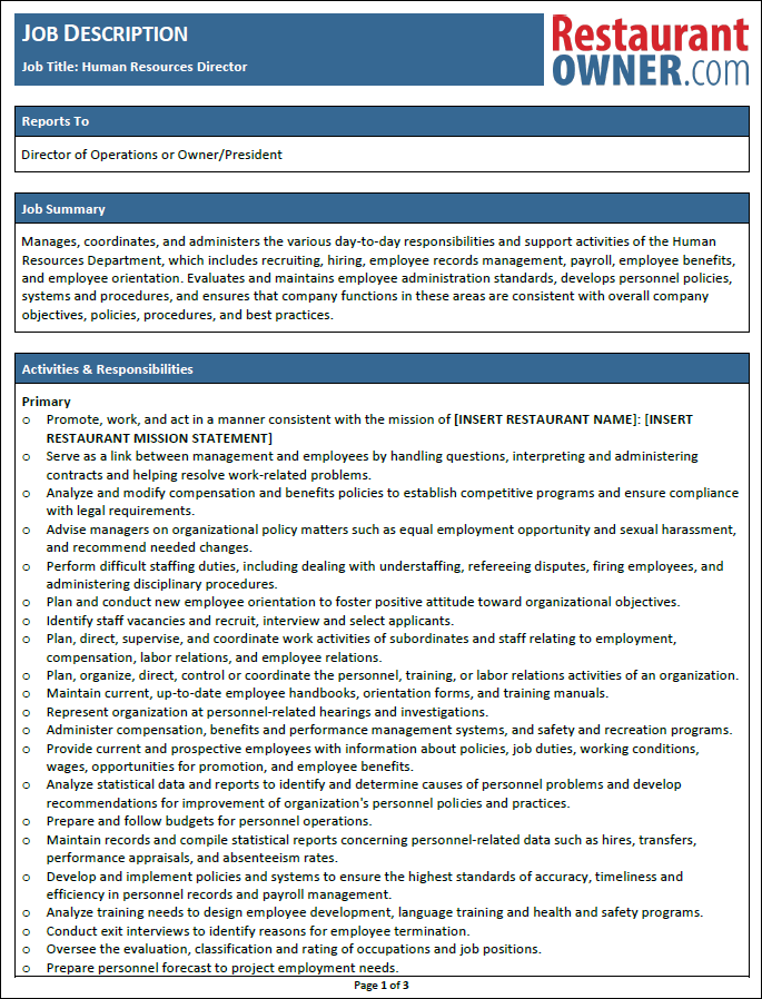 Restaurant Job Descriptions – Human Resources Director Job Description