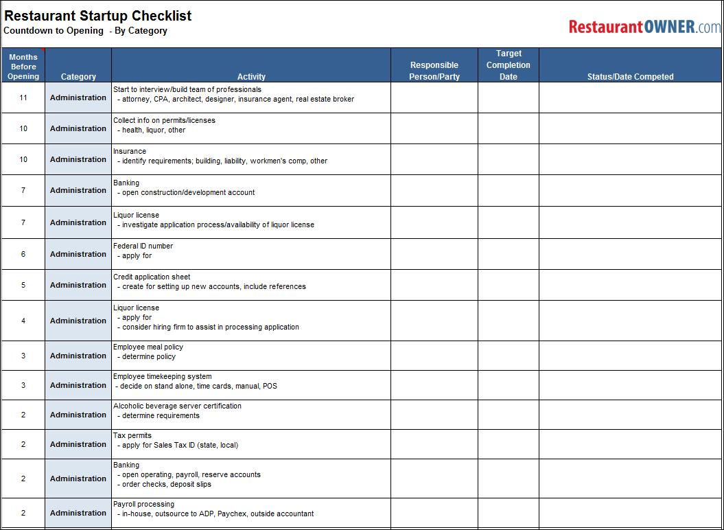 House cleaning checklist in spanish - Download The Restaurant Startup Checklist