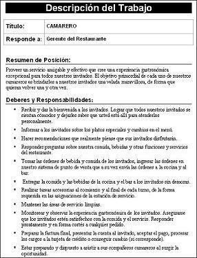 DOWNLOAD: Job Description Templates-Spanish Version