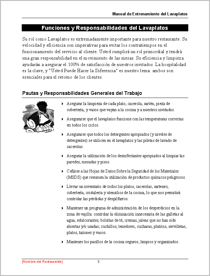 Restaurant Training Manual Templates Spanish Edition – Manual Templates