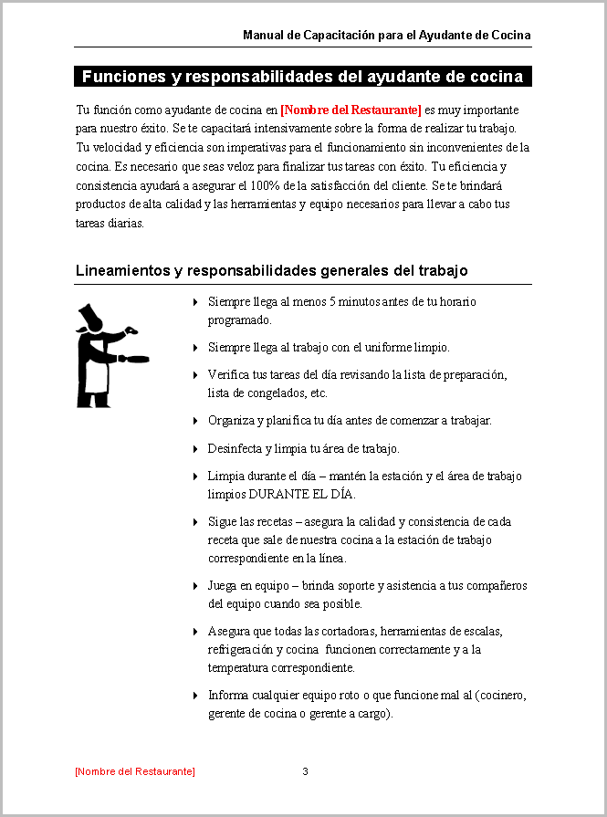 Restaurant Training Manual Templates Spanish Edition – It Manual Templates to Download