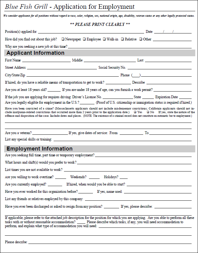 restaurant application for employment